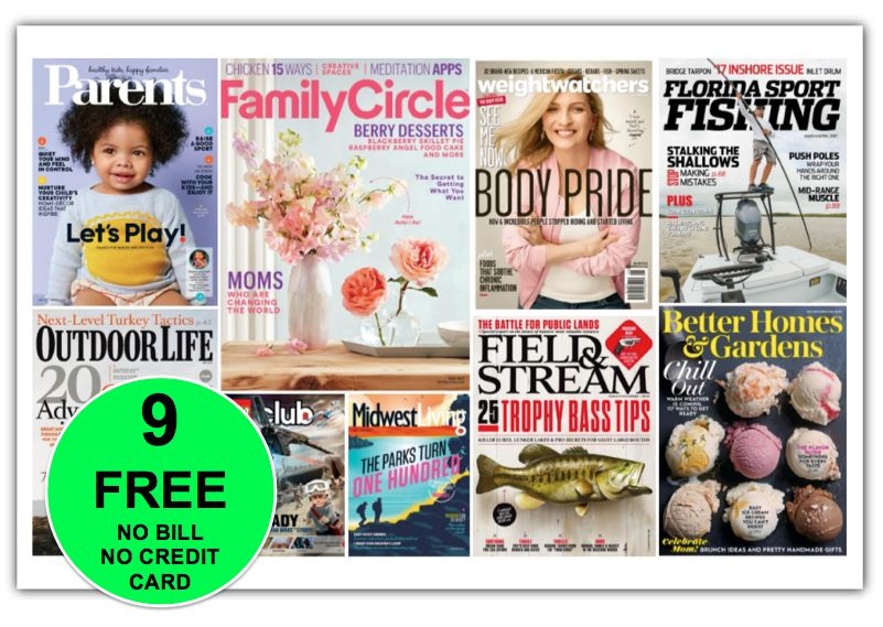 NINE {9!} FREE Magazine Subscriptions! Get Your Favorite Before It's GONE! {No Credit Card Needed AND You'll Never Get A Bill!}