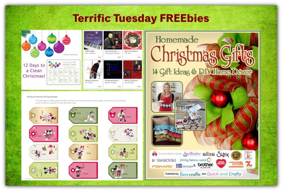 FOUR FREEbies:  12 Days to a Clean Christmas Printable Calendar, Christmas Music from Google Play, Homemade Christmas Gifts eBook and Mickey & Friends Printable Gift Tags!