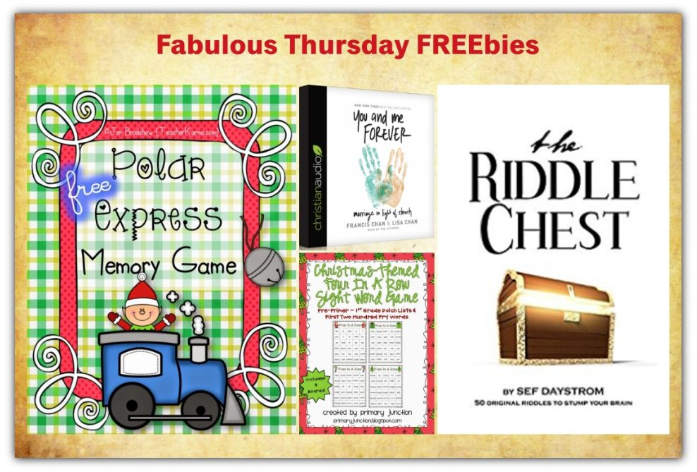 FOUR FREEbies:  The Riddle Chest eBook, Polar Express Memory Game, You & Me Forever Audiobook and Christmas Themed Sight Word Game!