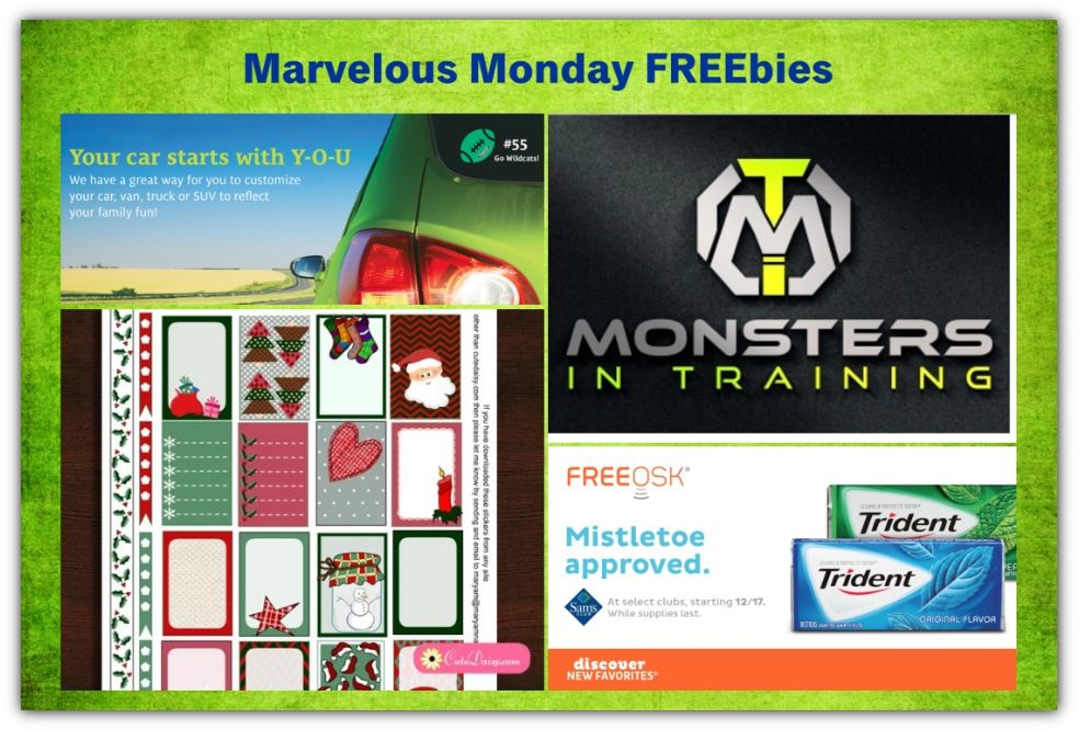 FOUR FREEbies:  Happy Planner Printable Christmas Stickers, Trident Gum at Sam's Club, Three Monsters in Training Items and Customizable Decal for your Car!