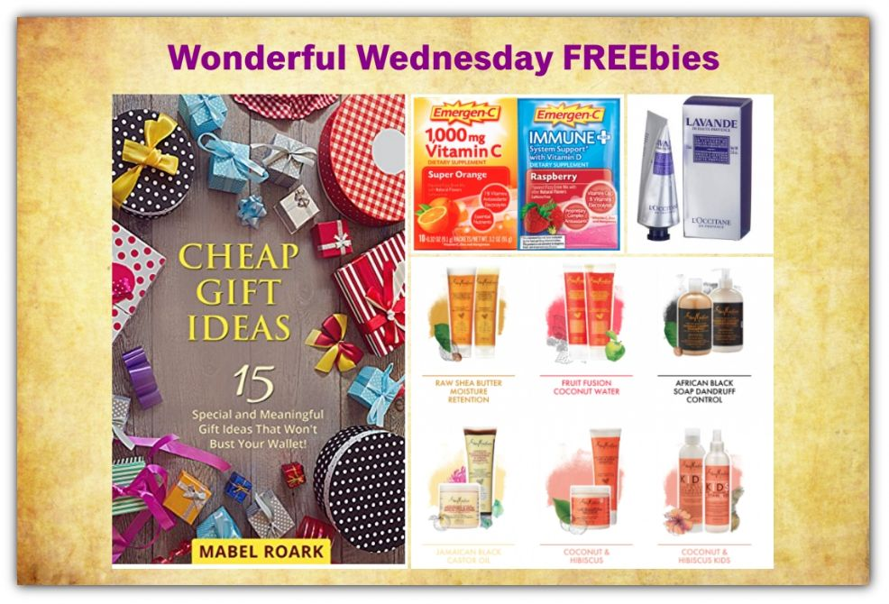 FOUR FREEbies: Cheap Gift Ideas eBook, L'Occitane Hand Cream, Emergen-C Packets and Shea Moisture Shampoo & Conditioner!