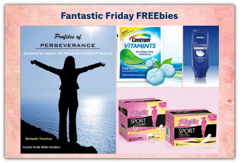 FOUR FREEbies:  Women's Bible Study on Perseverance, Nivea In-Shower Body Lotion, Centrum Vitamints and Playtex Sport Products