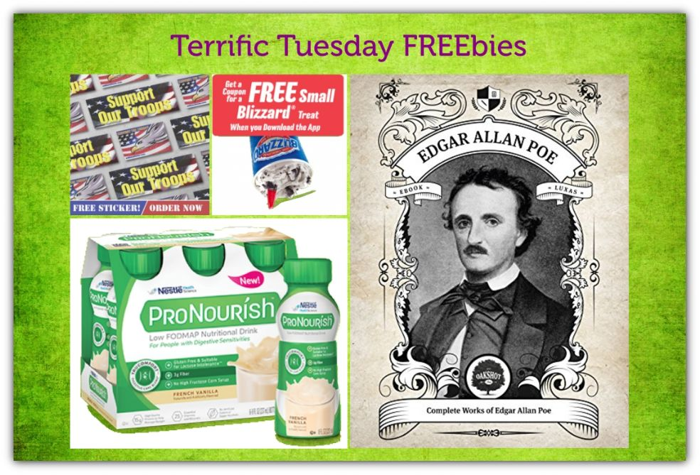 FOUR FREEbies:  Dairy Queen Blizzard, Support Our Troops Sticker, Complete Works of Edgar Allen Poe eBook and ProNourish Protein Drink!