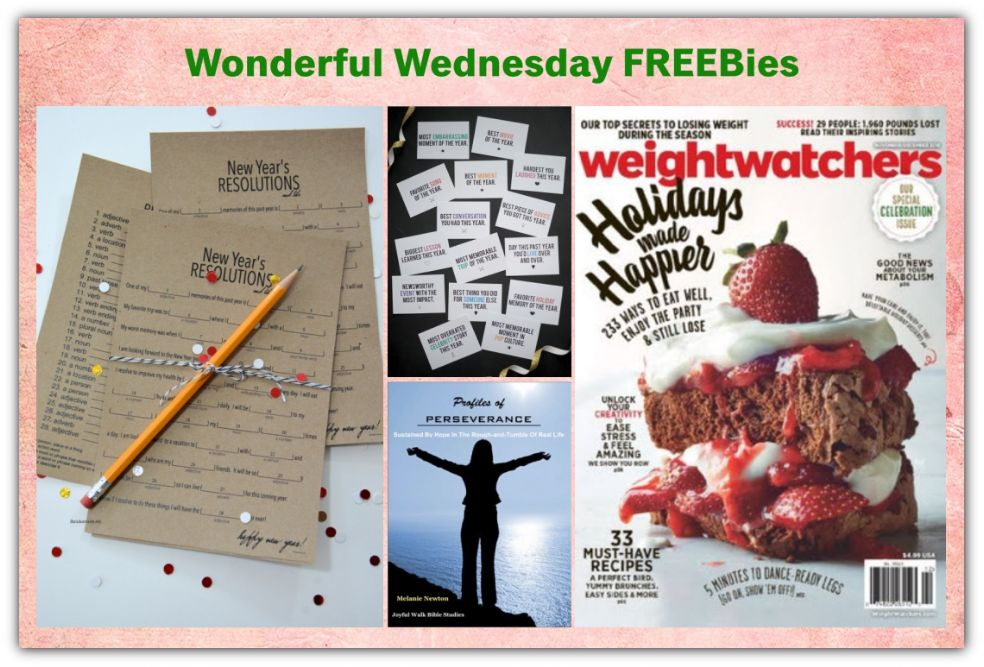 FOUR FREEbies: Annual Subscription to Weight Watchers Magazine, New Year's Game Printable, New Year's Resolutions and Worksheet Printables and Women's Bible Study!