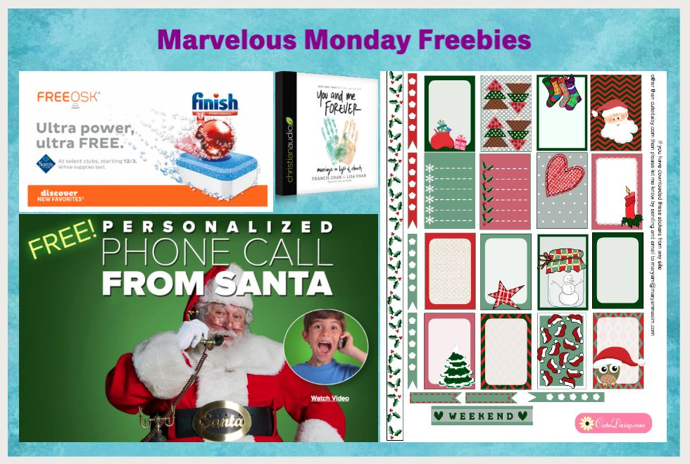 FOUR FREEbies:  Personalized Call from Santa, Marriage Christian Audiobook, Printable Christmas Planner Stickers and Finish Powerball Ultra at Sam's!
