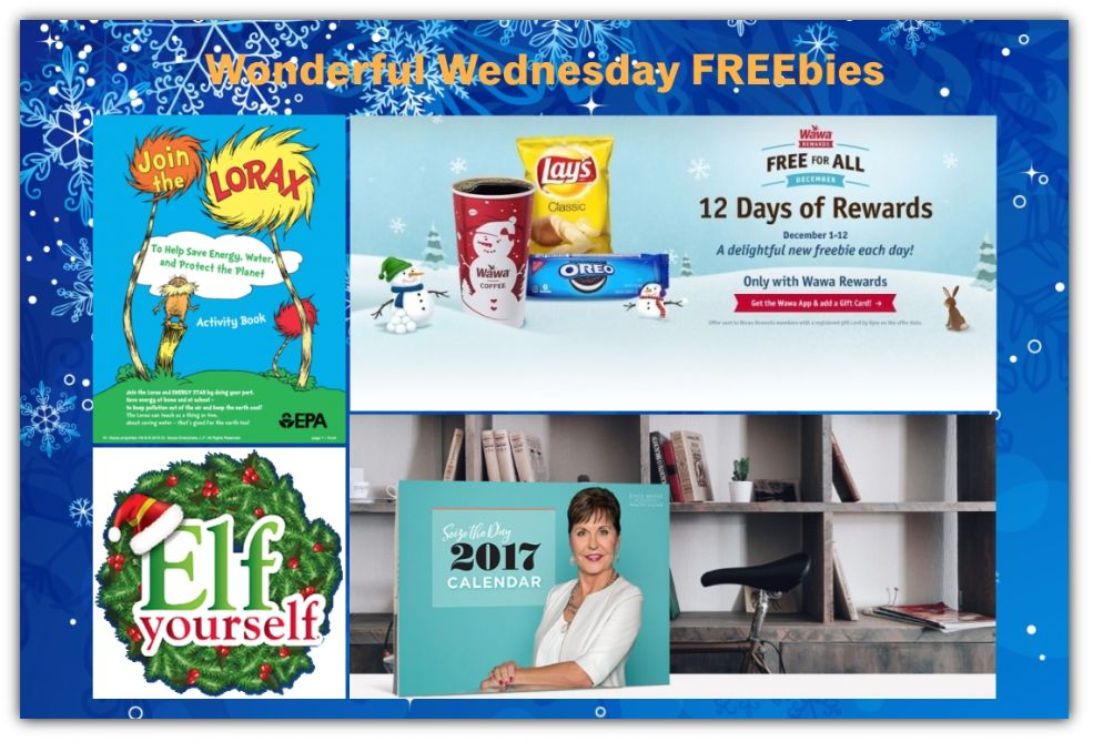 FOUR FREEbies:  Vita Coco Coconut Water at Wawa, 2017 Calendar, Elf Yourself Video and Lorax Activity Book!