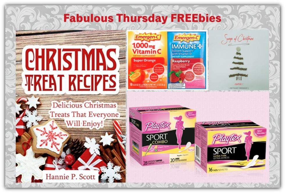 FOUR FREEbies:  Christmas Treat Recipes eCookbook, 3 Christmas Songs from Bethany Worship, Playtex Sport Products and Emergen-C Packets!