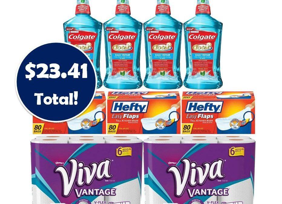 For Only $23.41, Grab (2) Viva Paper Towels 6 Packs, (3) Gum Singles, (3) Hefty Trash Bag Boxes & (4) 1 Liter Colgate Mouthwashes This Week at CVS!
