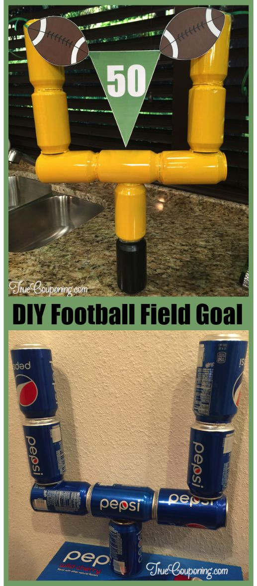 Are you ready to get this football season started? Start it off right by making this DIY Football Goal Post for your next party! #truecouponing #football #footballseason #diypartydecor #diy