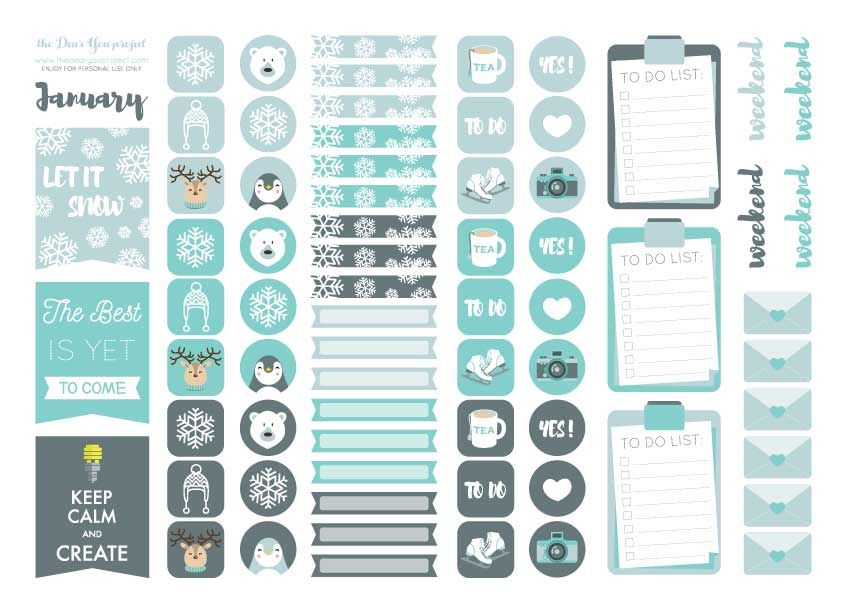 free planner sticker printable for january