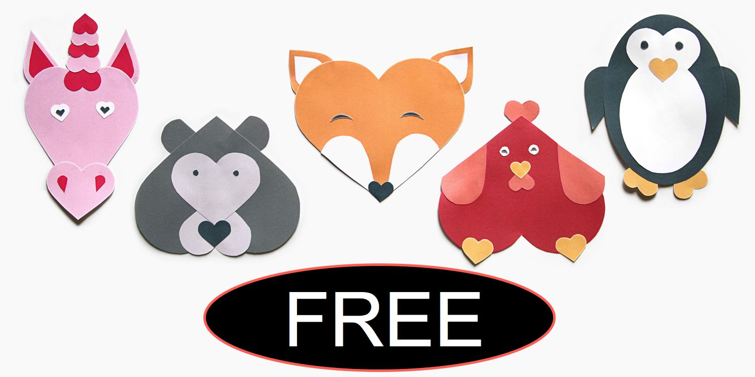 FREE Valentine's Day Heart Shaped Animal Craft!
