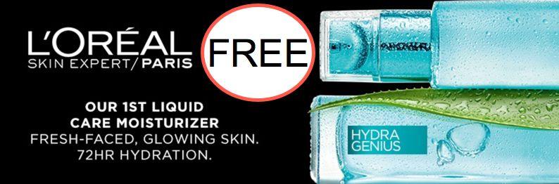 FREE Loreal Hydra-Genuis Liquid Care Moisturizer
