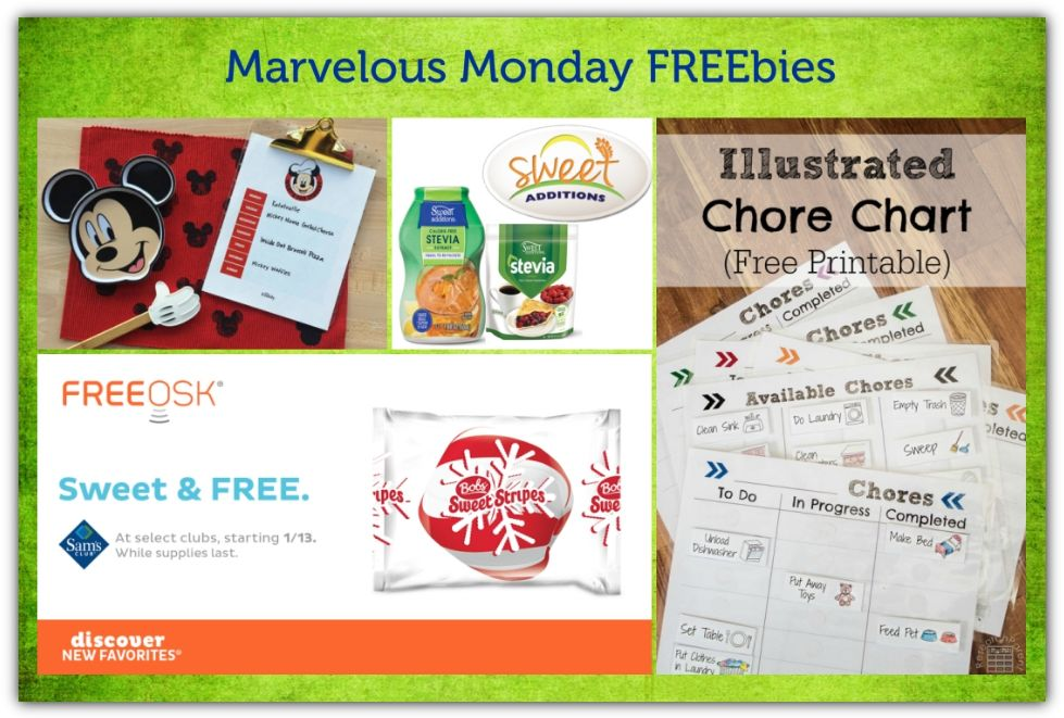 FOUR FREEbies:  Illustrated Chore Chart, Mickey Mouse Weekly Menu Printable, Bob's Sweet Stripes and Sweet Additions Natural Sweetner!