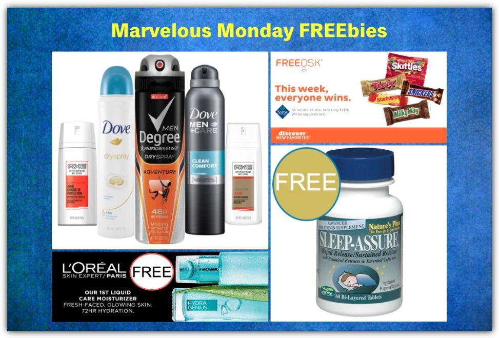 FOUR FREEbies:  Full-Size Antiperspirant Spray, Candy Favorites at Sam's Club, L'Oreal Moisturizer and Nature's Plus Sleep Assure!