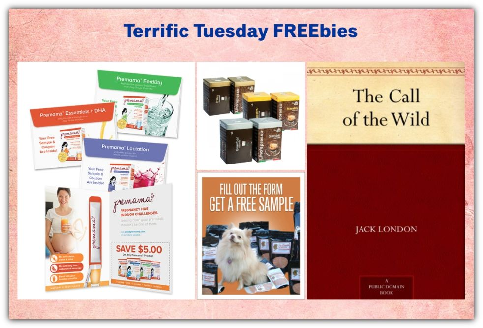 FOUR FREEbies:  Premama Prenatal Vitamins, Lino'spresso Coffee, Call of the Wild eBook and Dog Food Supplements!