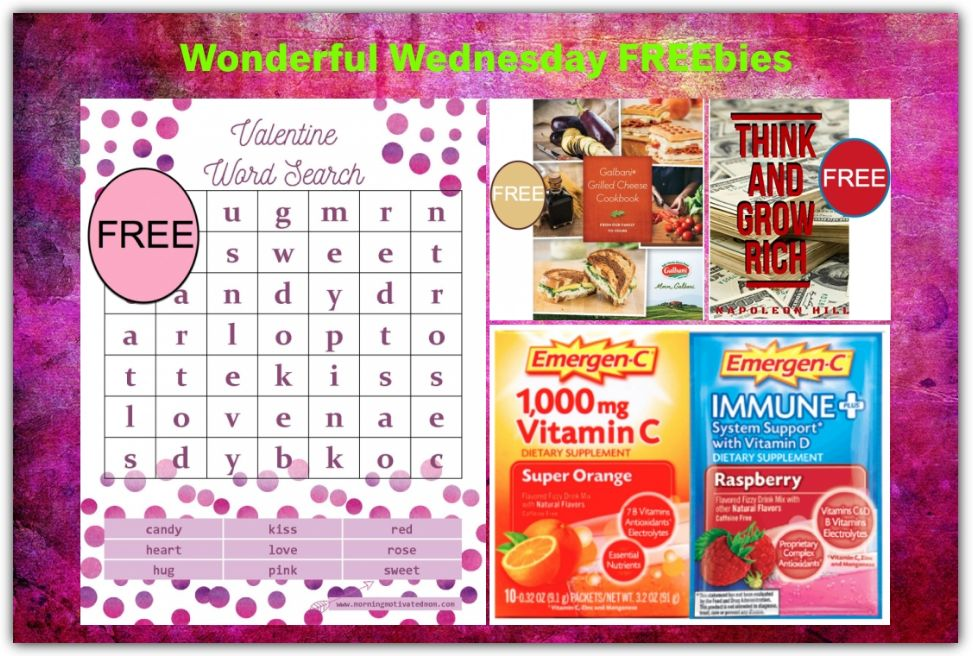 FOUR FREEbies:  Valentine's Day Word Search Printable, Galbani Grilled Cheese eCookbook, Think and Grow Rich eBook and Emergen-C Packets!