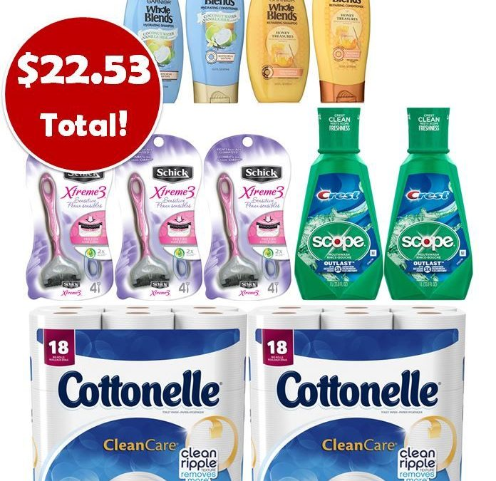 For Only $22.53, Grab (2) Scope Mouthwashes, (2) Cottonelle TP 18 Packs, (3) Schick Disposable Razors & (4) Garnier Hair Care This Week at CVS!