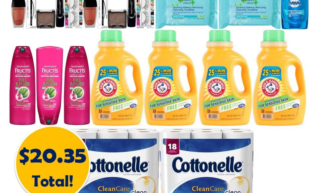 For Only $20.35, Grab (1) Dish Soap, (2) Facial Cloths, (2) Toilet Paper 18 Packs, (3) Hair Care, (4) Detergent Bottles & (10) Cosmetic Products This Week at CVS!