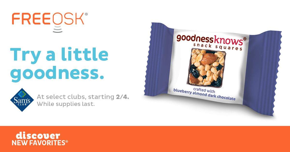 FREE Goodness Knows Snack Squares at Sam's Club