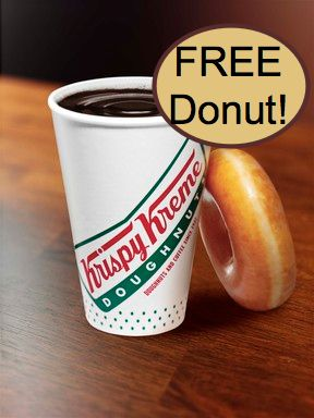 FREE Krispy Kreme Doughnut with Any Coffee Purchase!