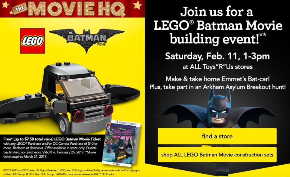 FREE Toys R Us LEGO Batman Event!