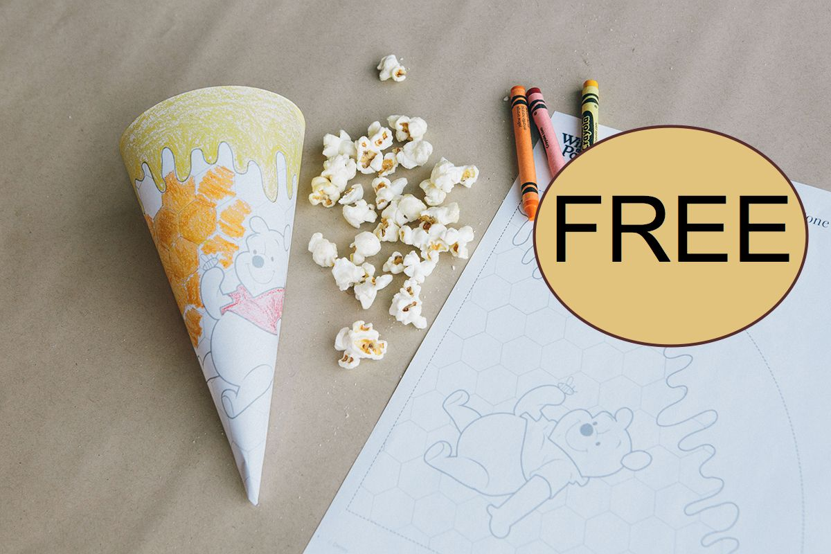 FREE Winnie the Pooh Coloring Popcorn Cone!