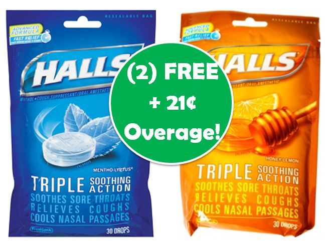 FREE-FREE + $0.21 OVERAGE on Halls Cough Drops! Relieve Your Cold with (2) FREE Halls Cough Drops at Publix! ~ Ends Tues/Weds!