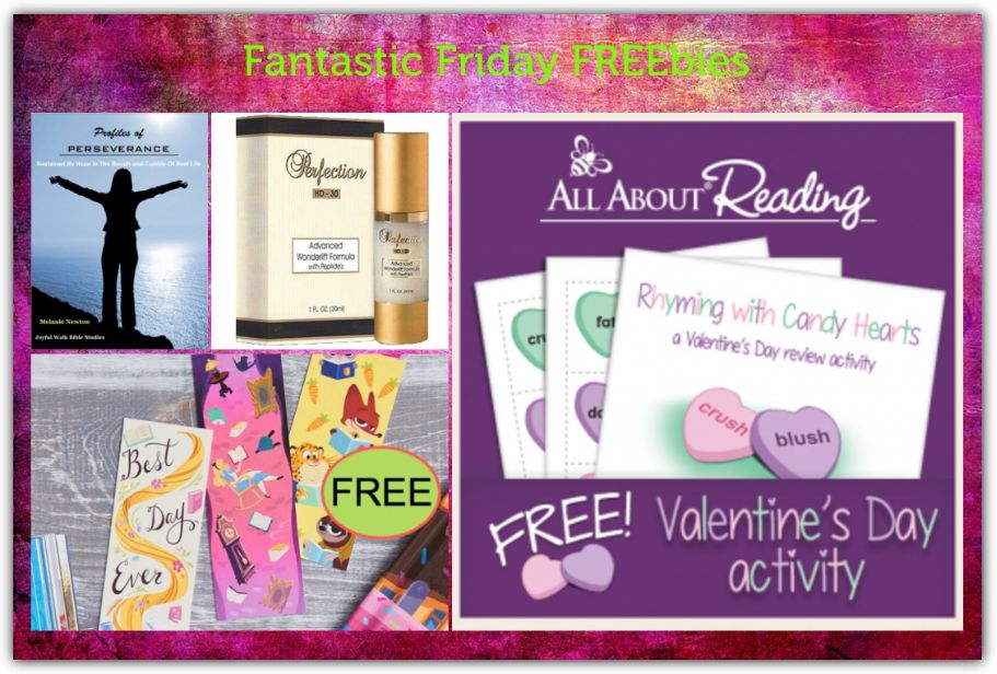 FOUR FREEbies:  Rhyming with Candies Printable, Perfection HD30 Anti-Wrinkle Cream, Disney Bookmarks and Women's Bible Study on Perseverance!