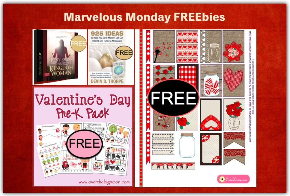 FOUR FREEbies:  Rustic Valentine's Day Planner Stickers, Kingdom Woman Christian Audiobook, 925 Ideas to Help You Get Out of Debt eBook and Valentine's Day Pre-K Pack!