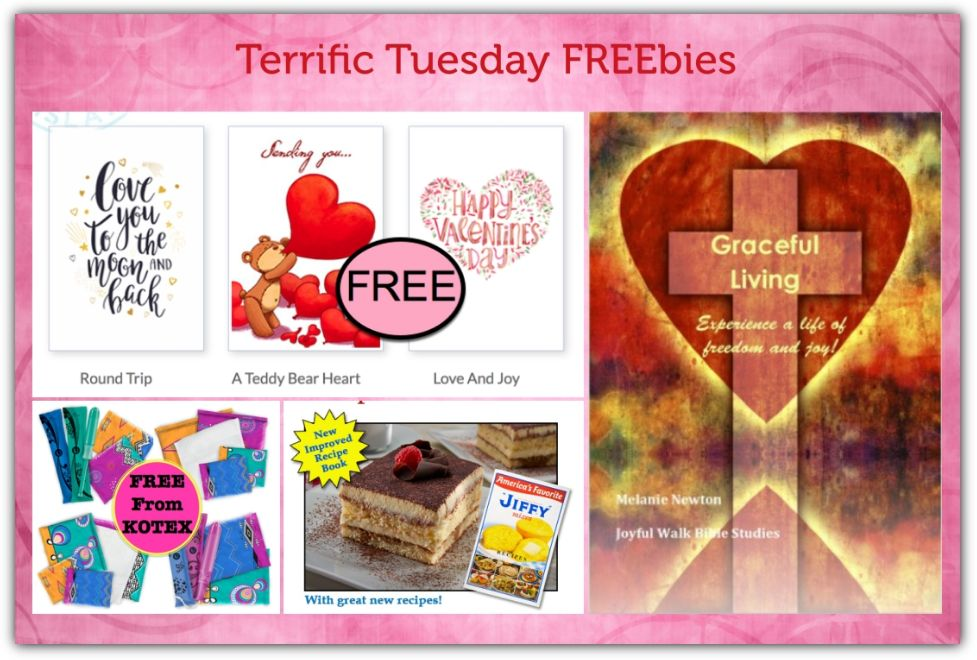 FOUR FREEbies:  Printable Valentine's Day Cards, Kotex Products, Jiffy Mix Cookbook and Graceful Living Bible Study!