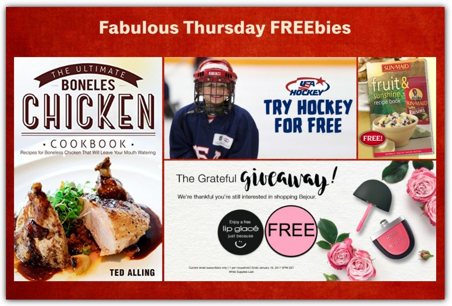 FOUR FREEbies:  Lip Glace from Bonjour, Ultimate Boneless Chicken eCookbook, Try Hockey for a Day and Sunmaid Recipe Book!