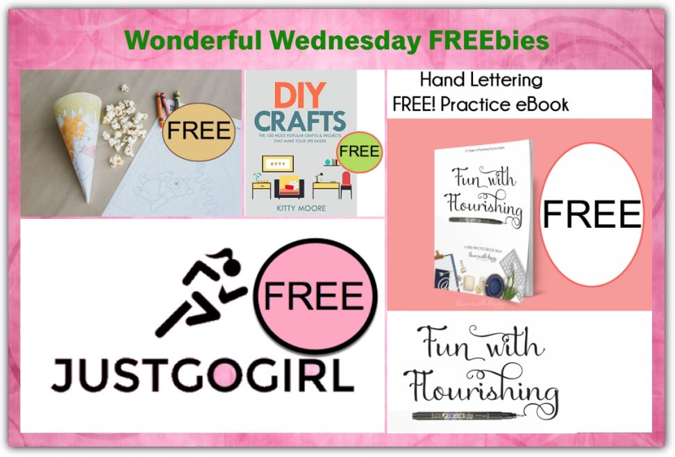 FOUR FREEbies: 100 DIY Crafts That Make Your Life Better eBook, Hand Lettering Practice eBook, Just Go Girl Pads and Winnie the Pooh Coloring Popcorn Cone!