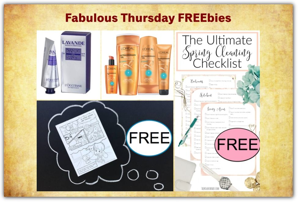 FOUR FREEbies: Spring Cleaning Checklist Printable, L'Occitane Hand Cream, Spider-Man Coloring Page Printable and L'Oreal Extraordinary Oil Hair Care!