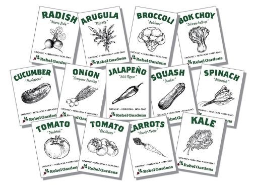 Organic Vegetable Variety Seed Packets