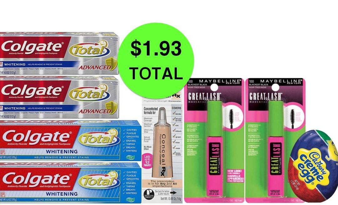 For Only $1.93 TOTAL, Grab (4) Colgate Toothpastes, (2) Maybelline Mascaras, (1) Concealer & (1) Cadbury Egg, This Week at CVS!