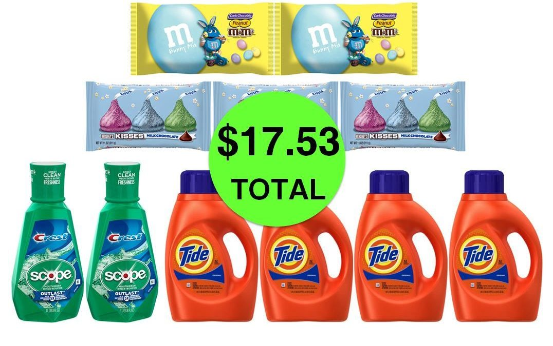 For Only $17.53 TOTAL, Get (2) Easter M&M's, (2) Scope Mouthwashes, (3) Hershey's Easter Kisses & (4) Tide Detergents This Week at CVS!
