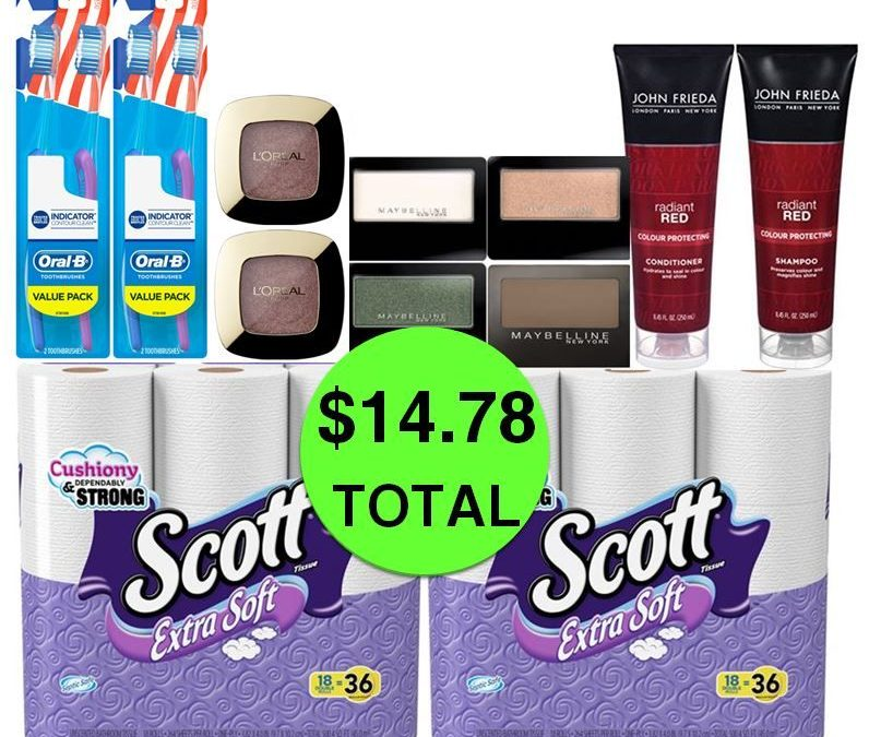 For Only $14.78 TOTAL, Get (4) Toothbrushes, (2) Hair Care, (2) Bath Tissue 18 Packs & (6) Eyeshadows This Week at CVS!