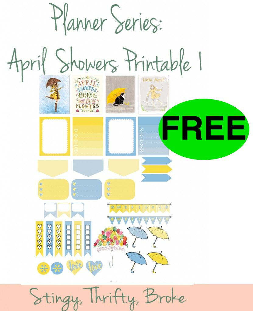 FREE April Showers Bring May Flowers Planner Stickers!