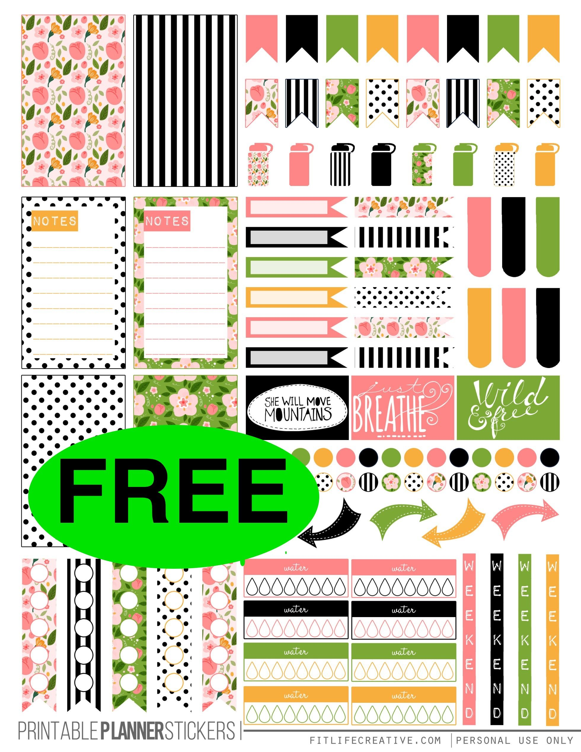 free spring planner printable stickers