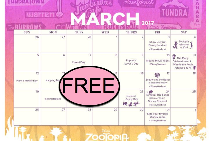 FREE Zootopia Holidays to Celebrate in March Printable Calendar!