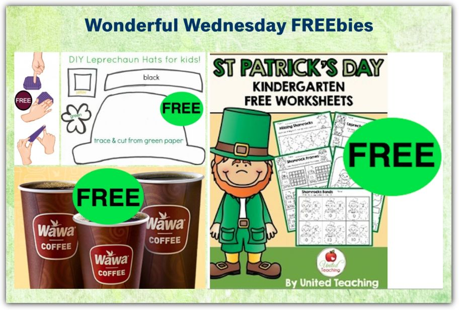 FOUR FREEbies:  Wawa Coffee Every Friday in March, St. Patrick's Day Kindergarten Worksheets, St. Patrick's Day Hat Printable Craft and Purple Squishy!