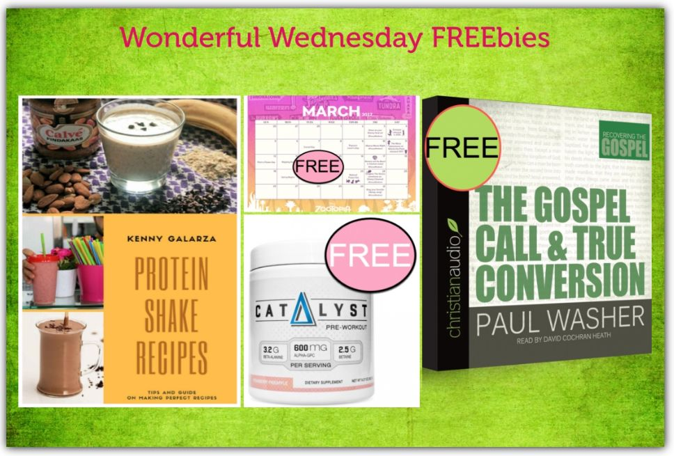 FOUR FREEbies:  Zootopia Holidays to Celebrate in March Printable Calendar, Momentum Nutrition Pre-Workout Supplement, The Gospel Call & True Conversion Audiobook and 50 Delicious Protein Shake Recipes eCookbook!