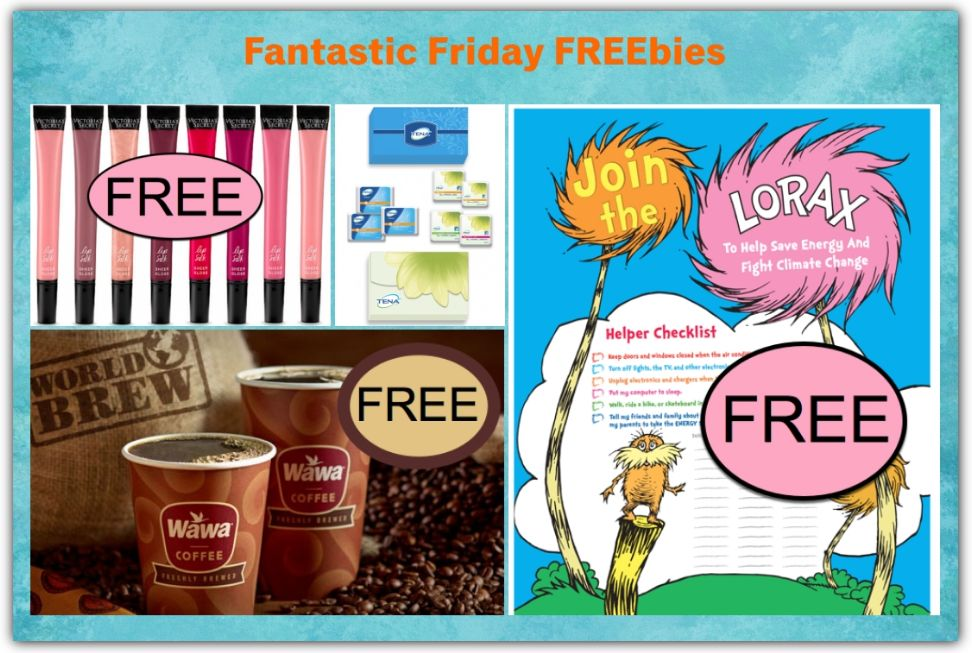 FOUR FREEbies: Lip Silk from Victoria's Secret, Tena Sample Pack, Coffee on Friday from Wawa and Lorax Helper Checklist Printable!