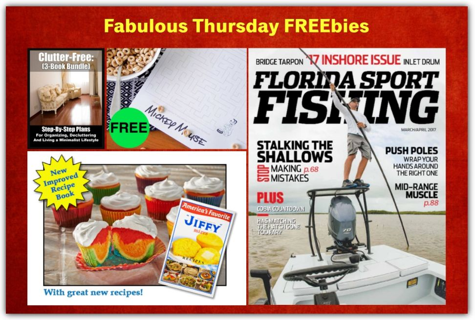 FOUR FREEbies: Jiffy Mix Cookbook, Annual Subscription to Florida Sport Fishing Magazine, Mickey Mouse Activity Placemat Printable and Clutter-Free Cleaning eBook!