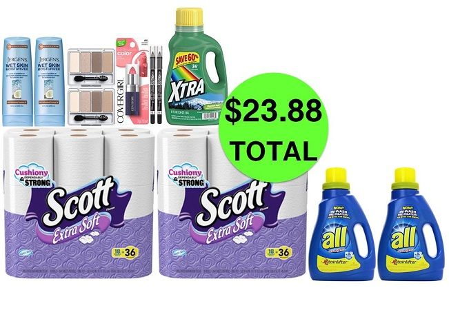 For Only $23.88 TOTAL, Get (1) Lipstick, (2) Eyeliners, (2) Quad Eyeshadows, (2) Shower Lotions, (2) TP 18 Packs & (3) Laundry Detergents This Week at CVS!