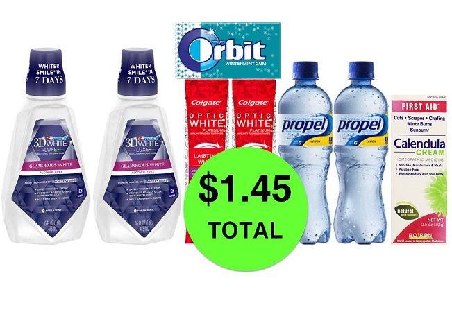 For Only $1.45 TOTAL, Get (1) Orbit Gum, (1) First Aid Cream, (2) Propel Drinks, (2) Crest Mouthwashes & (2) Colgate Optic White Toothpastes This Week at CVS!