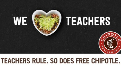 Chipotle's Teacher Appreciation Day is Coming THIS Tuesday 5/2/17! {Homeschool Mom's Included Too!}
