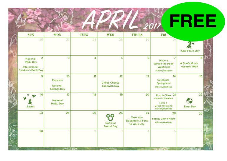April Calendar List : Free april disneyweekend to do list printable calendar
