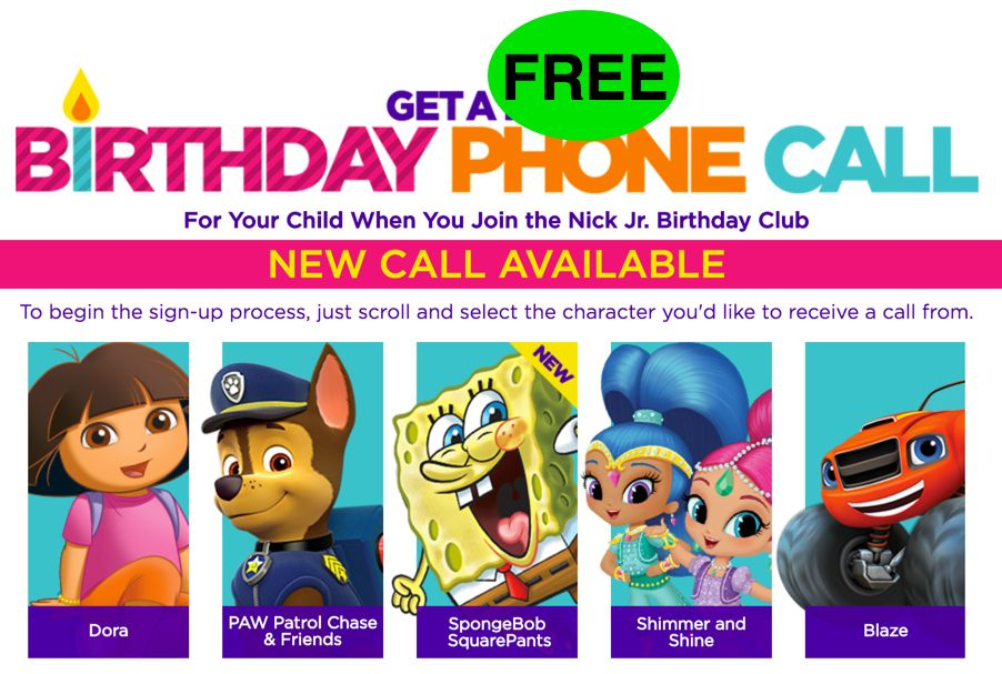 FREE Birthday Fun! Your Kids Get a Call from Nick Jr. Character!