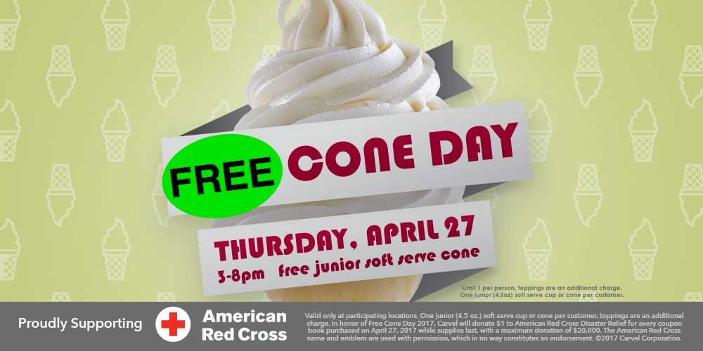 FREE ICE CREAM Today at Carvel from 3pm to 8pm!